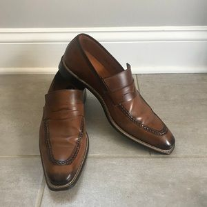 MEZLAN Mens Italian Leather Penny Loafer